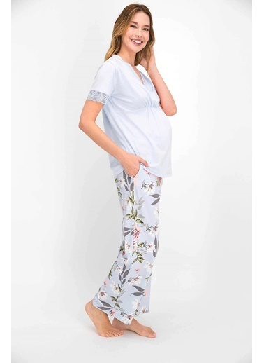 Arnetta Floral Pattern Krem Kadın Lohusa Pijama Takımı Mavi